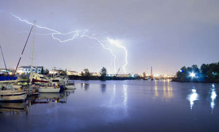 A Thunderstorm includes Lightning Strikes in Commencement Bay