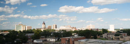 Soft clouds and blue skies appear over Topeka, Kansas USA