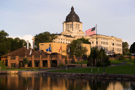 Sunrise lights up the capitol dome in Pierre, SD