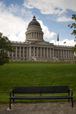 A vertical composition state capital building in Salt Lake City