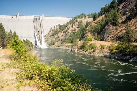 The spillway drains water from the dam down into the Clearwater River in Idaho