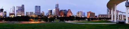 Beauitful dusk hits the city skyline downtown in the capital city of Texas
