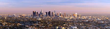 Green trees dominate the forground with the city skyline of Los Angeles in the background