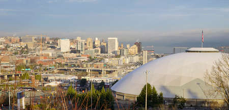 The Dome dominates the foreground in Tacoma Washington at Sunrise