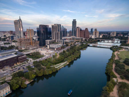 Aerial view of the Colorado River meandering along the Austin Texas waterfront