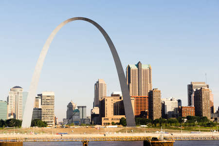 The Mississippi River waterfront and the Gateway Arch in St Louis Missourri 写真素材