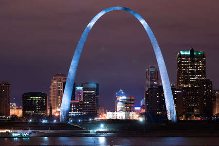 Night has come to downtown St Louis city skyline along the banks of the Mississippi River