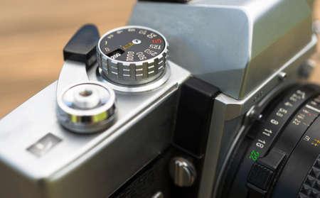 Close up macro view vintage manual focus and wind SLR camera