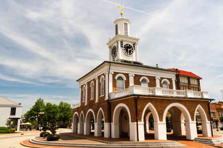 The clocktower says 2:31 at the town square in Fayetteville, North Carolina