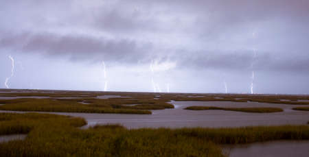 An electrical storm approaches from Galveston Texas with Gulf Coast marsh in the foreground Banco de Imagens