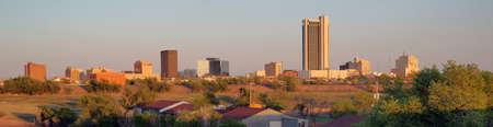 A long panoramic view of the north Texas town metro area of Amarillo 写真素材
