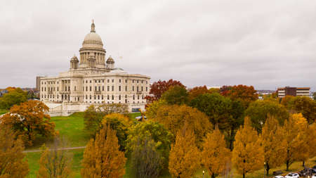Its an overcast day but the aerial view shows color in the Autumn leaves in Providence RI