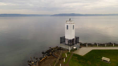 It's overcast and calm for this aerial view over Browns Point in Commencement Bay Puget Sound Washington Banco de Imagens