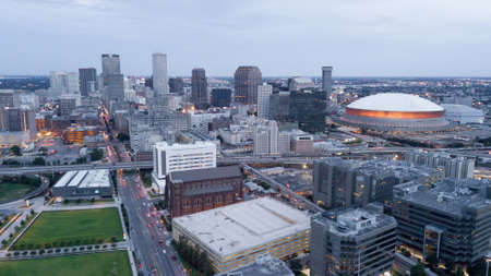 Its a clean crisp aerial view of the downtown urban city center core of New Orleans Louisiana