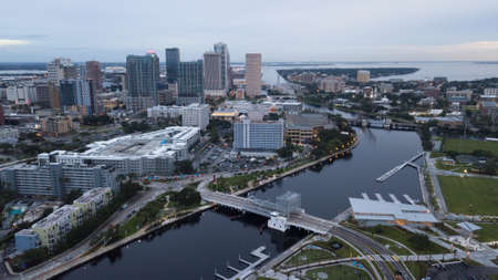 Florida's largest city skyline at Tampa on the western coast is shown here as night falls