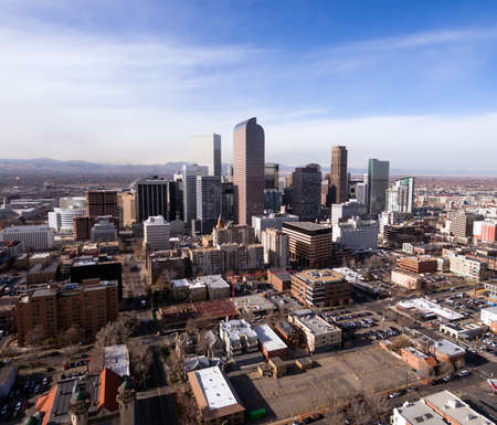 Streets and buildings in the downtown urban core of Denver Colorado Stock Photo