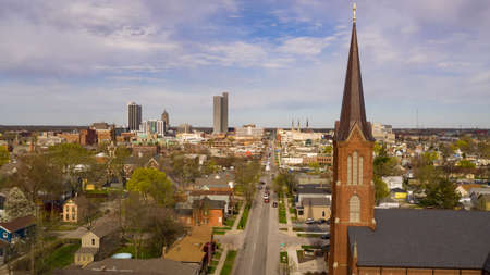 Aerial view over the downtown city skyline of Fort Wayne Indiana USA