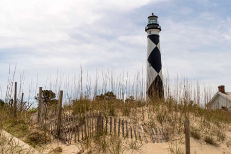 A Diamond pattern is painted on the lighthouse at Cape Lookout National Seashore