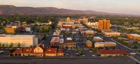 Beautiful light illuminated the downtown urban core city center of Yakima, WA Stock Photo