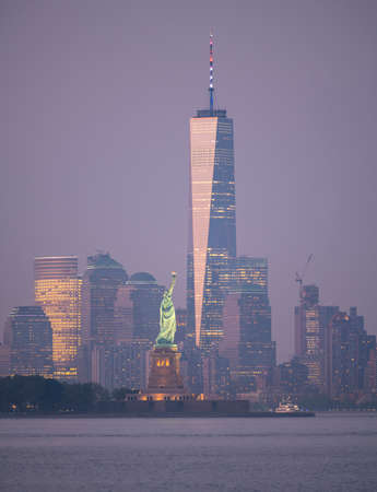 New York City Manhattan Skyline Ellis Island Statue of Liberty USA
