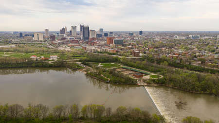 Stormy Afternoon Downtown Urban Core Columbus Ohio Scioto River Spillway