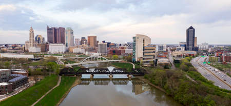 The downtown waterfront area of the Ohio State Capitol city in Columbus