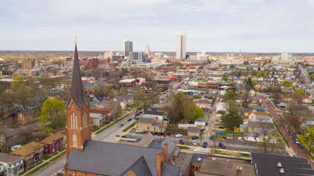 Aerial View Over The Urban City Center Skyline in Fort Wayne Indiana