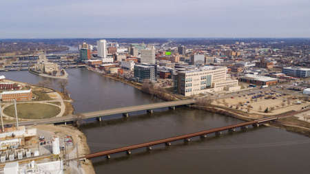 Aerial View Of the Cedar River Running thru a Cedar Rapids in Iowa