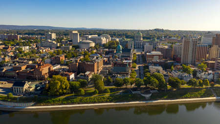 Morning light hits the buildings and downtown city center area in Pennsylvania state capital at Harrisburg