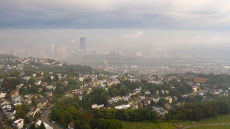 Fog still hangs in the air just after sunrise in Pittsburgh western PA