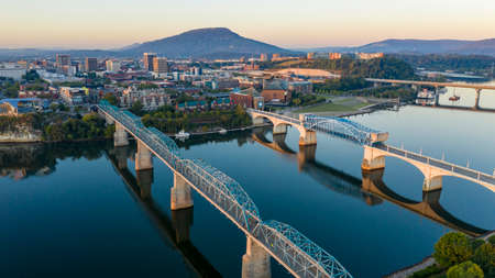Aerial view of a bend in the Tennessee River flowing around beautiful Chatanooga TN