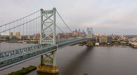 The Ben Franklin Bridge leads travelers into and out of downtown Philadelphia PA over the Delaware River