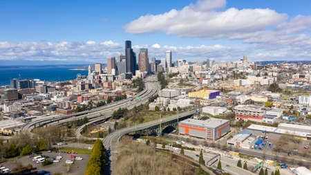 The Seattle srea is ominusly empty at rush hour during the Corona Virus stay home order Reklamní fotografie