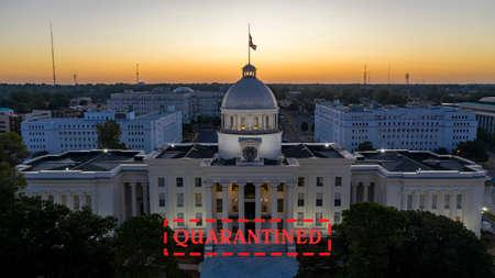 Golden sunlight reaches the horizon showing around the capital statehouse in Montgomery Alabama Reklamní fotografie