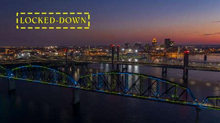 Multi Colors of light hit the Big Four bridge before sunrise around Lousville Kentucky