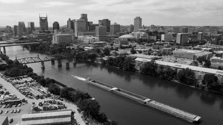 Classic black and white representation of an aerial view in the Capital city of Nashville