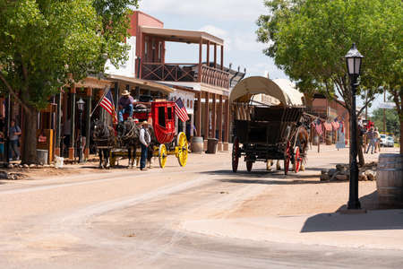 Main Street in Tombstone on a summer day the street blocked off from vehicles to accommodate Horses and Wagons and the occaisional gunfight Redakční