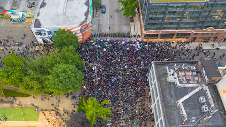 Seattle, WA/USA  June 3: Street View Protesters create a Mob Scene for George Floyd and the BLM in Seattle on Capital Hill June 3, 2020 Editoriali