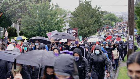 Seattle, WA/USA – June 12: Street View Silent Protesters March for George Floyd 60,000 strong in Seattle to Jefferson Park on June 12, 2020 Redakční