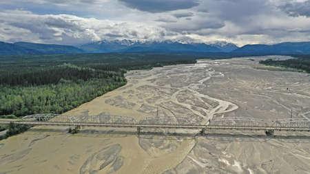 Aerial View over Big Delta River Junction and the Highway 2 Bridge Alaska