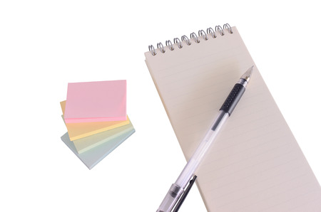 note book: Isolated of note with note book and pen