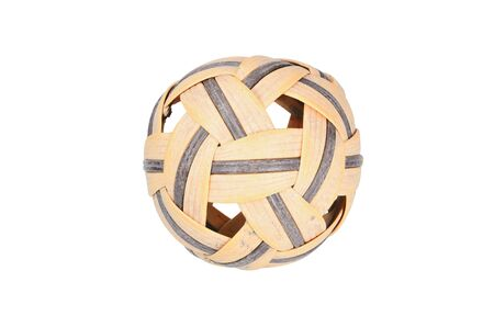weave ball: Isolated scene of aged rattan ball with white background Stock Photo