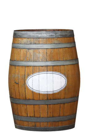 an old weathered wine barrel, isolated on a white background with a label for your text photo