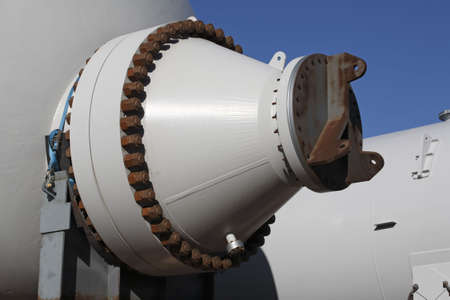 the end of a large heat exchanger pressure vessel Stock Photo