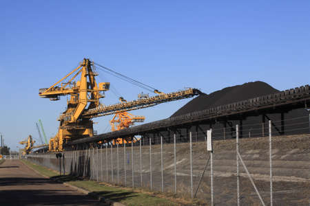 machinery space: a huge coal loading conveyor belt piles coal. Kooragang Island, Newcastle, NSW, Australia