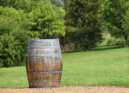 A weathered old barrel with a green garden background. Focus on foreground with room on the barrel for your text photo