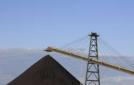 coal: Coal Loading Conveyor Belt and a Pile of Coal at a Coal Mine