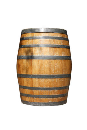 an old weathered wine barrel, isolated on a white background photo