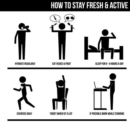 sit stay: How to stay fresh  active infographic sign symbol illustration vector icon
