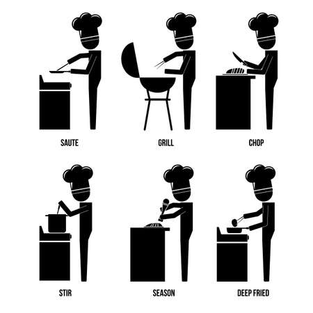 Chef various activities in kitchen infographic icon vector sign symbol pictogram